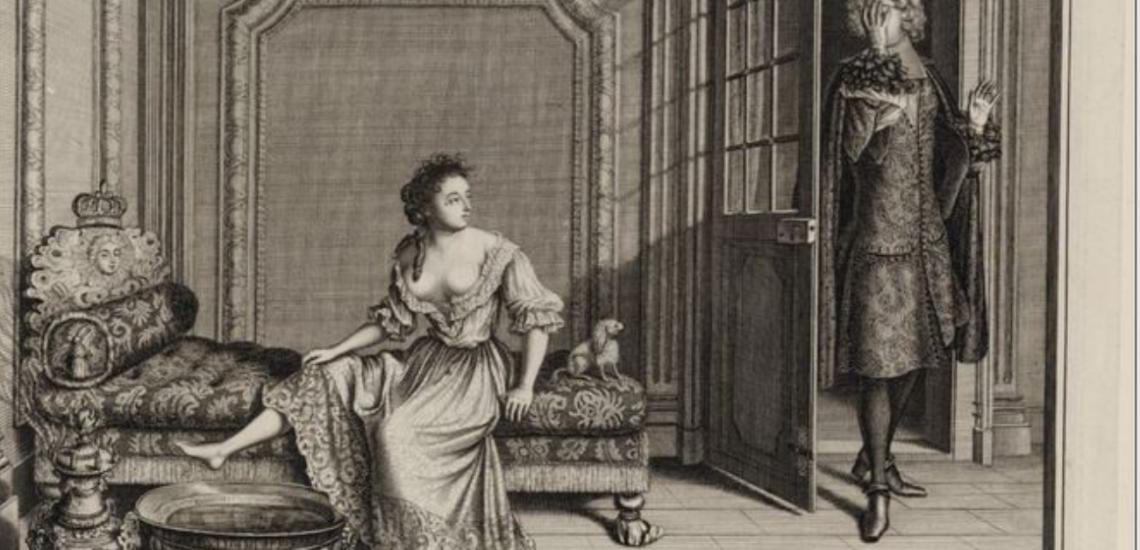 Femme de qualité déshabillée pour le bain gravure Bazin - Source Gallica