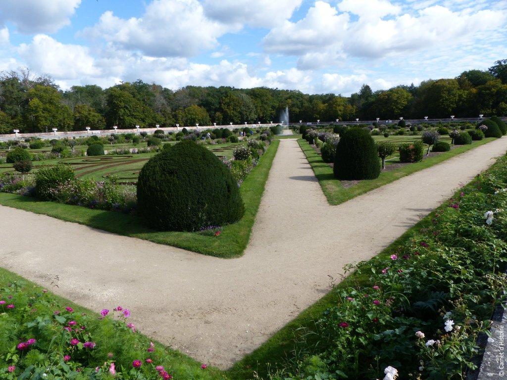 Jardin vue d'ensemble au Château de Chenonceau