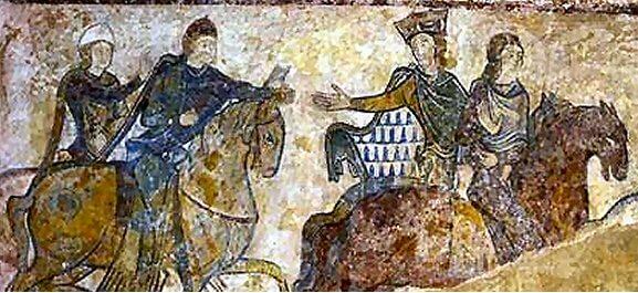 Aliénor d'Aquitaine chevauchant au côté de son fils Jean sans Terre