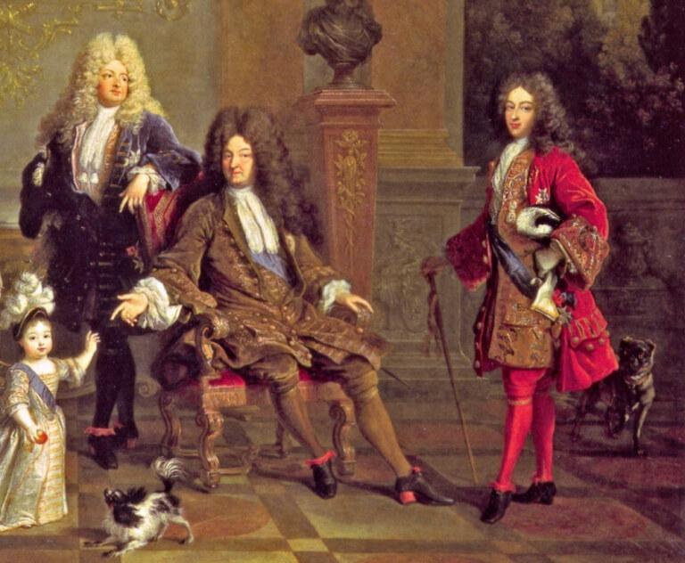 Le Dauphin, Louis XIV, le duc de Bourgogne, détail d'un tableau de Nicolas de Larguillière