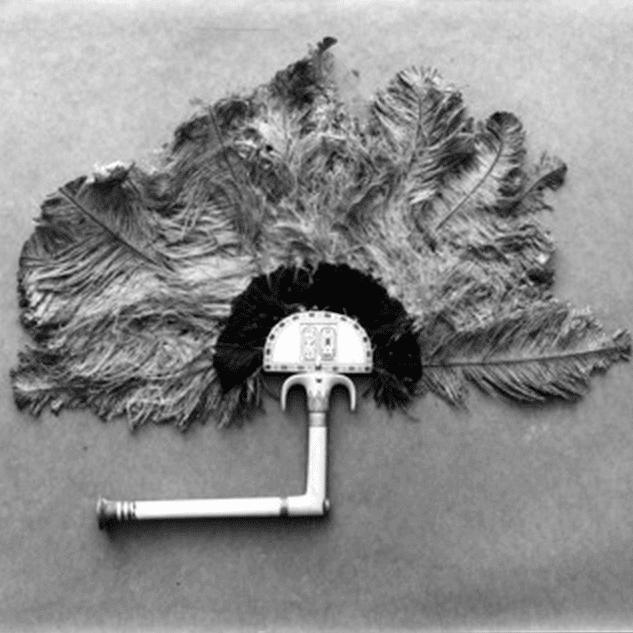 Éventail en ivoire et plumes d'autruche de Toutankhamon retrouvé dans son tombeau
