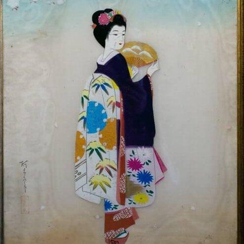 Peinture sur soie (Geisha japonaise)