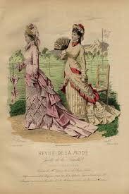 Gravure ancienne In-Folio Revue de la mode Eventail Couture 1876