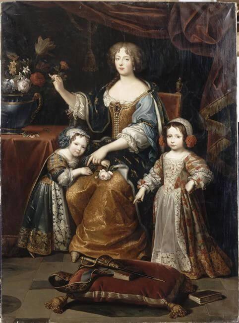 Louise de la Vallière première favorite de Louis XIV avec ses enfants