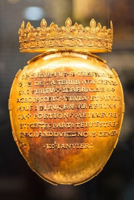 Ecrin contenant le coeur d'Anne de Bretagne