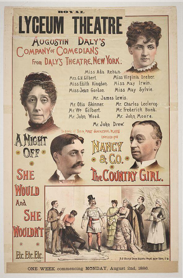 Affiche de la compagnie Daly's Theatre