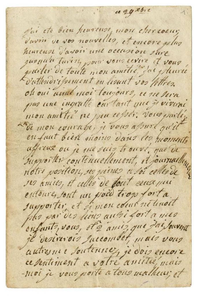Lettre de la reine Marie-Antoinette à la duchesse de Polignac, s.l. Paris, château des Tuileries ©DAF-CHAN